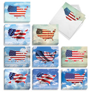 Flag Maps, Assorted Set Of Mini Independence Day Note Cards - AM9523IDG