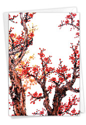 Cheers and Cherries, Printed Chinese New Year Note Card - C5072CCN