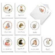 Thankful Critters, Assorted Set Of Mini Thanksgiving Note Cards - AM9548TGG