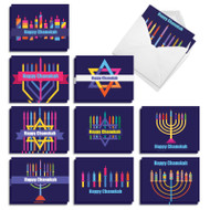 Rainbow Menorahs, Assorted Set Of Mini Chanukah Note Cards - AM9551HKG