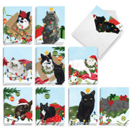 Purr-fect Holiday, Assorted Set Of Mini Christmas Note Cards - AM9555XSG