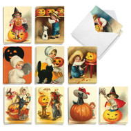 Vintage Pumpkins, Assorted Set Of Mini Halloween Note Cards - AM9561HWG