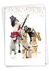 Party Animal Bands-Dogs, Printed New Year Note Card - C9541FNY