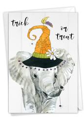 Spooky Be Wild-Elephant, Printed Halloween Note Card - C9543EHWG