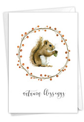 Thankful Critters-Squirrel, Printed Thanksgiving Note Card - C9548DTG