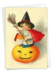 Vintage Pumpkins-Witch, Printed Halloween Greeting Card - C9561IHWG