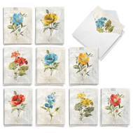 Multicolored Botanicals, Assorted Set Of Mini Sympathy Thank You Note Cards - AM8853STG