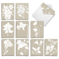White Ink Florals, Assorted Set Of Mini Sympathy Thank You Greeting Cards - AM8887STG