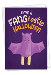 Trick or Treat Puns-Bat, Printed Halloween Greeting Card - C8851CHWG