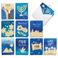 Blue Matzo, Assorted Set Of Mini Passover Greeting Cards - AM9160PAG