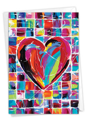 Colorful Hearts, Printed Valentine's Day Note Card - C9267GVDG