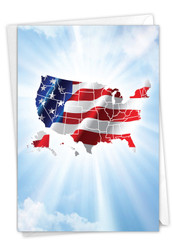 Flag Maps-July 4th, Printed Independence Day Note Card - C9523GIDG