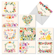 Note Cards with Vintage Floral Sprays Surround Expression of Thank You