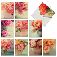 Full Blooms, Assorted Set Of Mini Thank You Greeting Cards - AM6553TYG