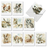 M6629TY - Watercolor Wildlife: Mixed Set of 10 Cards