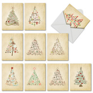 M6648XS - Retro Tannenbaum: Mixed Set of 10 Cards