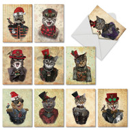M6554XS - Steampunk Cats: Mixed Set of 10 Cards
