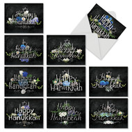 Chalk And Roses, Assorted Set Of Mini Hanukkah Note Cards - AM2358HKG