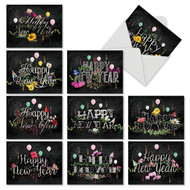 Chalk And Roses, Assorted Set Of Mini New Year Greeting Card - AM2358NYG