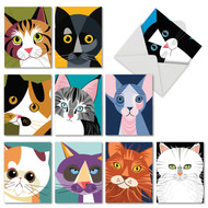 Cubic Cats, Assorted Set Of Mini Thank You Note Cards - AM6730TYG