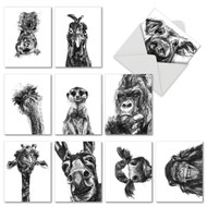 Charcoal Animals, Assorted Set Of Mini Thank You Note Cards - AM2956TYG