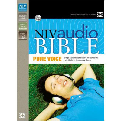 Front view - NIV Audio Bible on CD read by George W. Sarris voice only on 66 CDs