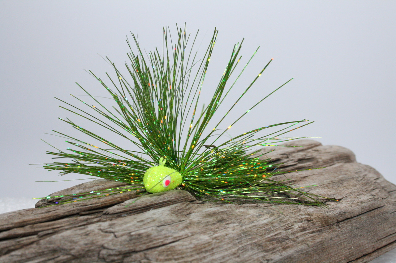 3033b2329e3 ... B-Fish-N Tackle MasterFlash Jig. Chartreuse Glitter Jig Head with a  Chartreuse Spring Green Tinsel Mix