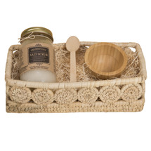 Holy City Skin Revitalizing Dead Sea Salt Hand and Body Scrub Gift Set Comes with A Palm Medallion Bread Basket to complete the gift
