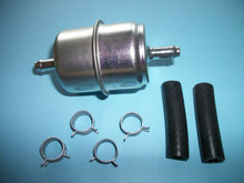 """Universal 5/16"""" Inline Canister Fuel Filter with Hoses and Clamps"""
