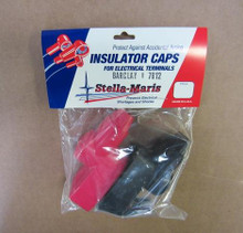 Stella-Maris Battery Terminal Post  Covers Boot Pair Black Negative & Red Positive