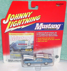 JOHNNY LIGHTNING MUSTANG ILLUSTRATED SERIES BLUE AND WHITE 1967 SHELBY GT-500 DIE-CAST REPLICA