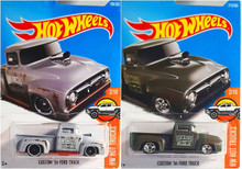 Hot Wheels Custom 56 Ford Truck Gray 108/365 and Dark Green 215/365 2 Car Set