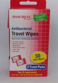 ASSURED Antibacterial Travel Wipes - 2 Travel Packs - 30 Total Wipes FREE SHIPPING
