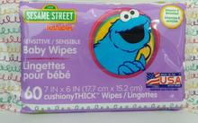 SESAME STREET Hushables Sensitive Baby Wipes 60ct - FREE SHIPPING