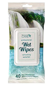 PERSONAL CARE Antibacterial Wet Wipes Refreshing Waterfall 40ct - FREE SHIPPING