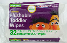 SESAME STREET Scented Flushable Toddler Wipes 32ct - FREE SHIPPING