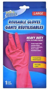 SCRUB BUDDIES LARGE Ladies Pink Heavy Duty Reusable Cleaning Gloves - FREE SHIPPING