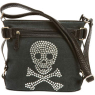 Wholesale lot of (10) Fleur de Lune Handbag with Rhinestone Skull