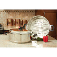 Wholesale lot of (2) Precise Heat T304 Stainless Steel Oversized Skillet Steamer and Cover