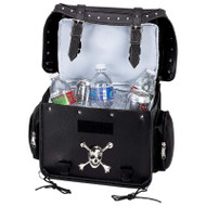 Wholesale lot of (2) Diamond Plate Motorcycle Trunk/Cooler Bag with Skull Medallion