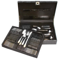 Wholesale lot of (4) Sterlingcraft High-Quality Heavy-Gauge Stainless Steel 72pc Flatware and Hostess Set with Gold Trim