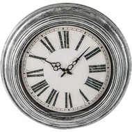 "Wholesale lot of (6) Brookwood 20"" Antique Silver Round Wall Clock"