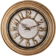 "Wholesale lot of (6) Brookwood 20"" Antique Gold Round Wall Clock"