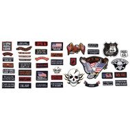 Wholesale lot of (36) Live To Ride 42pc Embroidered Motorcycle Patch Set