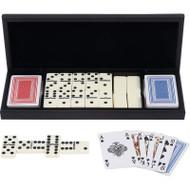 Wholesale lot of (20) Alex Navarre 28pc Domino Set with 2 Decks of Cards in Wood Gift Box