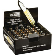 Wholesale lot of (2) Maxam 25pc Small Gold-Tone Bullet Knives in Countertop Display