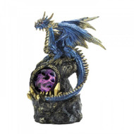 Blue Dragon On Rocks Statue