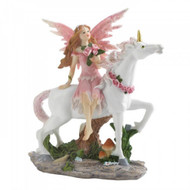 Pink Fairy With Unicorn Figurine