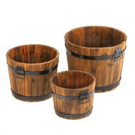 Country Barrel Planters Set