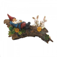 Sleeping Gnome With Bunnies Solar Statue